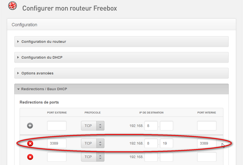 Capture d'écran configuration Freebox pour redirection port RDP 3389