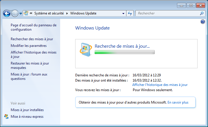 Capture d'écran windows update