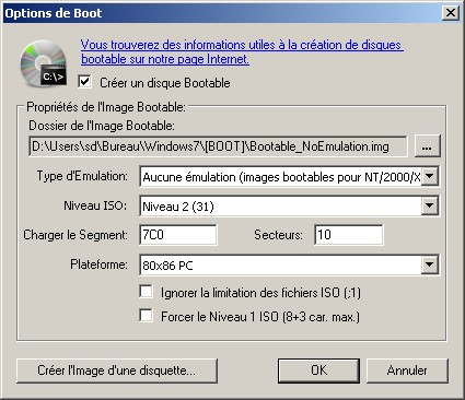 Capture écran options de boot DVD Windows 7 avec CD burner XP