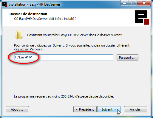 Capture d'écran installation EasyPHP