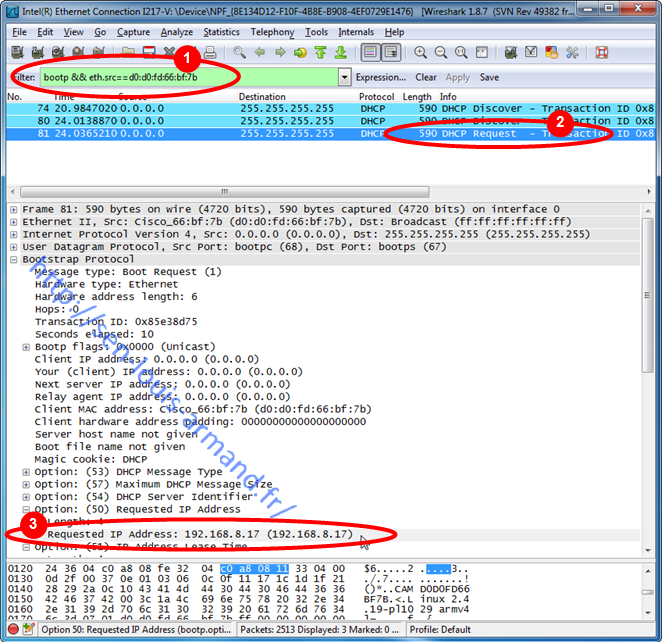 Capture Wireshark trame DHCP Request