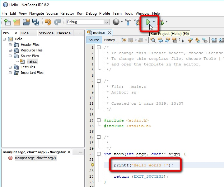 NetBeans C Application printf run F6
