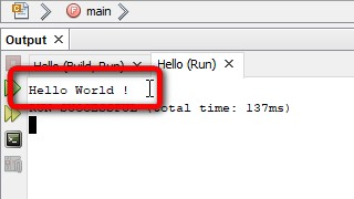 NetBeans Execution Hello World