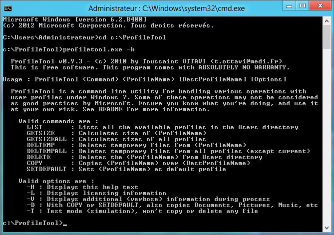 Screenshot command line profiletool -h