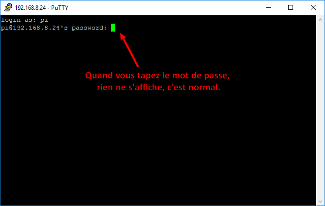 Raspbian login mot de passe Putty
