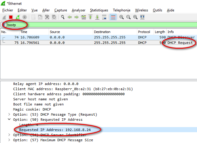 Raspeberry Pi Connaitre IP wireshark