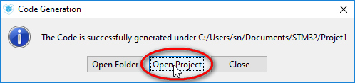 STM32 CubeMx Open Project in IDE