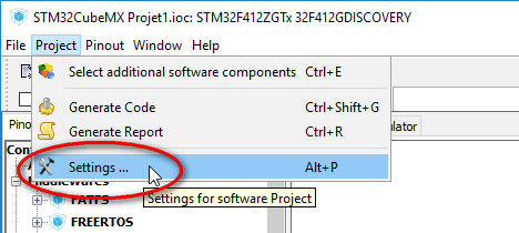 STM32 CubeMx Project Settings