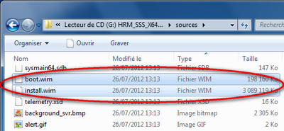 Capture d'écran fichiers .WIM dvd install Windows 8