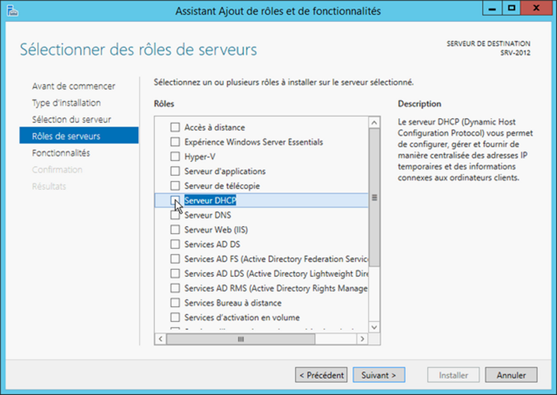 Windows Serveur 2012 R2 Assitant Ajout Rôle