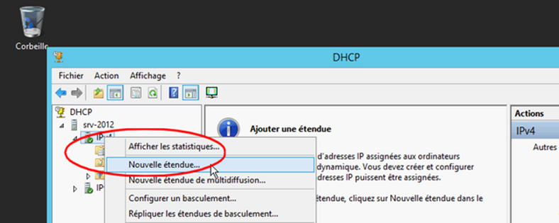 Windows Serveur 2012 R2 Console DHCP