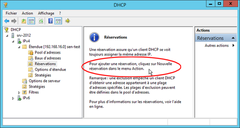 Windows Serveur 2012 R2 Reservation DHCP
