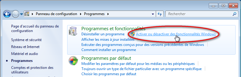 Capture d'écran activer ou desactiver fonctionnalites Windows