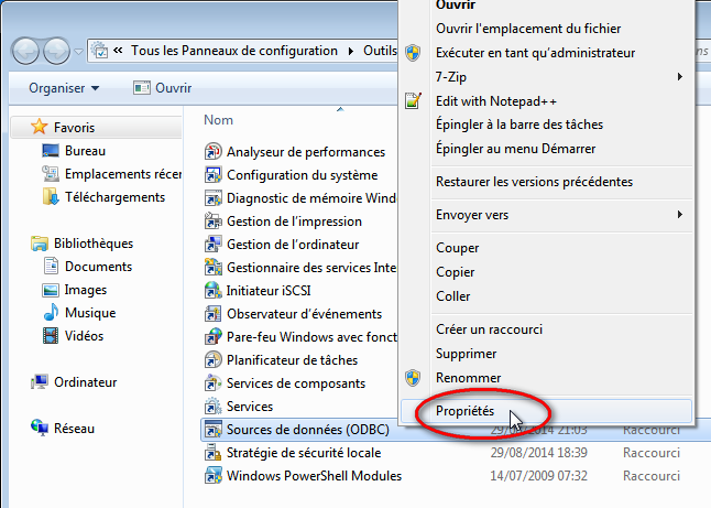 Capture d'écran outils d'administration Windows 7