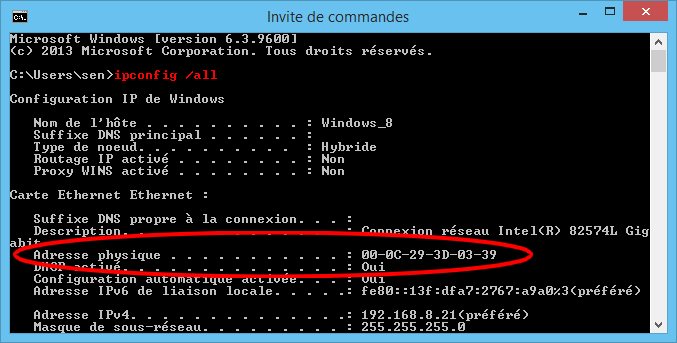 Copie d'écran de la commande ipconfig /all