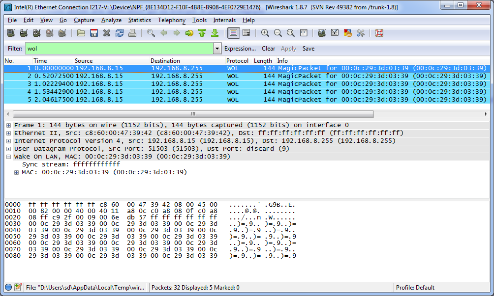 Capture d'écran wireshark paquet magique